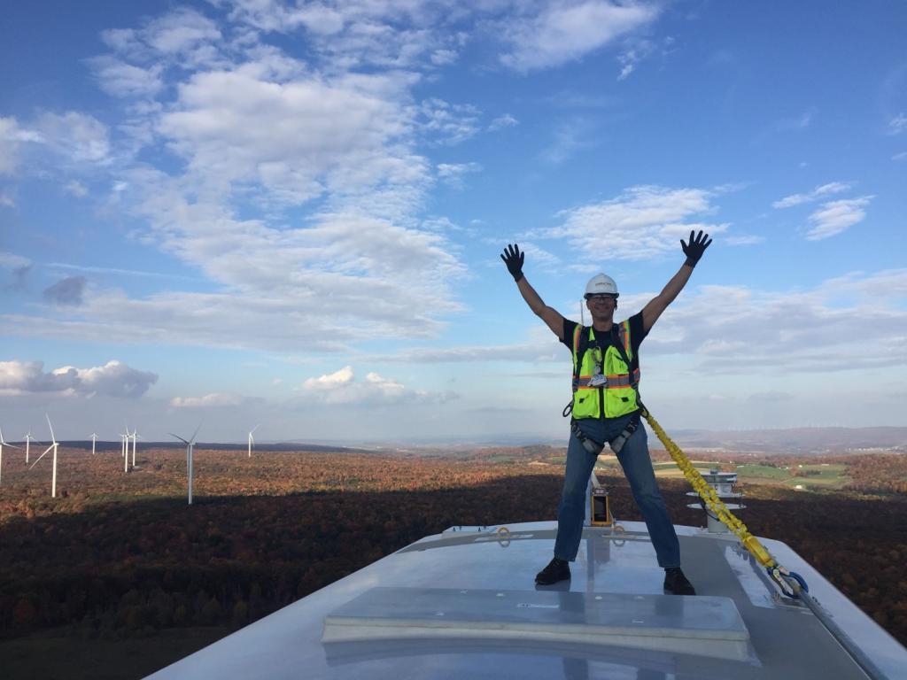 Byron Howard atop Wind Turbine