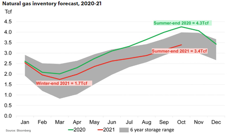 Natural gas inventory forecase, 2020-20201