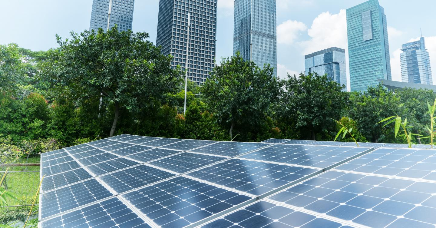 Solar Power Plant in modern city,Sustainable Renewable Energy